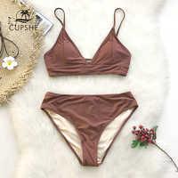 Cupshe brown laço-up bikini define feminino triângulo meados da cintura duas peças maiôs 2020 menina simples praia maiô