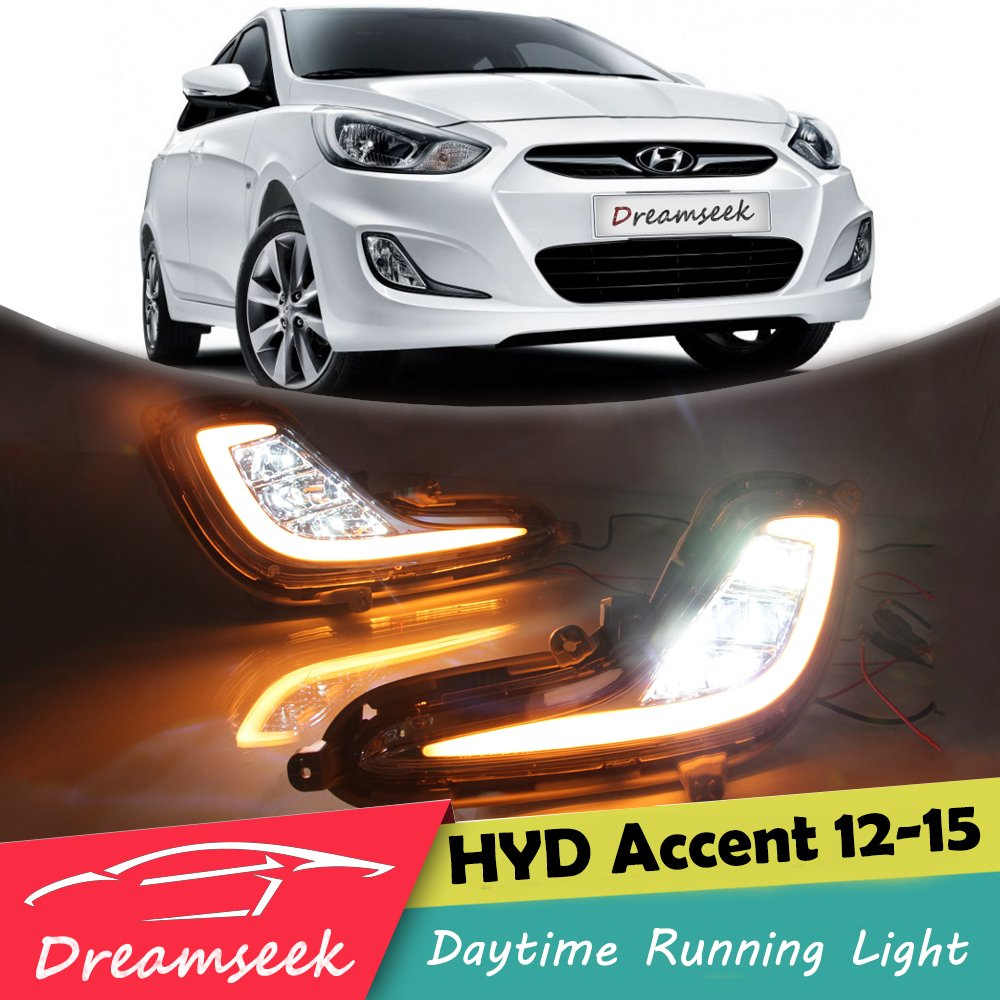 LED DRL for Hyundai Accent 2012 2013 2014 2015 Daytime Running Light With Turn Signal Lamp