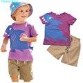 Humor Urso meninos roupa do bebê set meninos Dos Desenhos Animados T shirt + pant 2 Pcs Set Casual crianças Definir a roupa Das Crianças