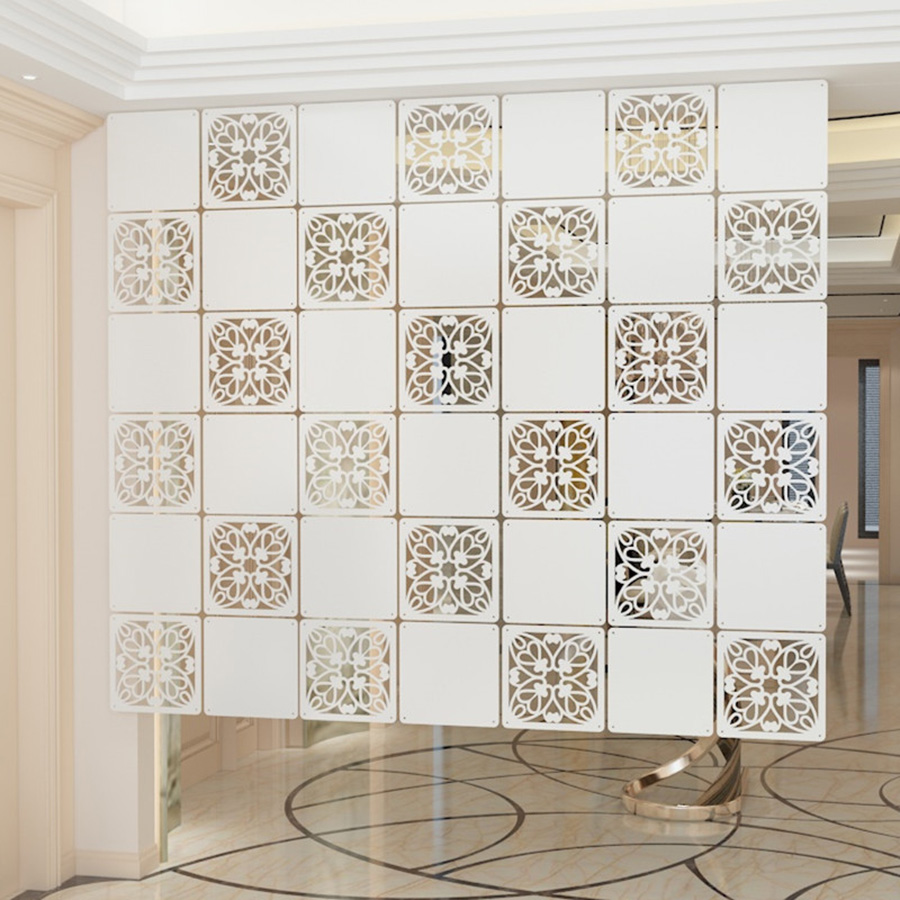 Continental Foldable Shield Room Divider Folding Screen Decorative Decoration Square Restaurant Carved Hollow Curtain 29cm 39cm