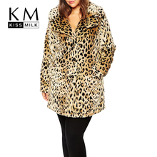 Kissmilk 2017 Women Plus Size Leopard Fur Side Pockets 3XL 4XL 5XL 6XL Big Large Size Vintage Elegant Warm Coat