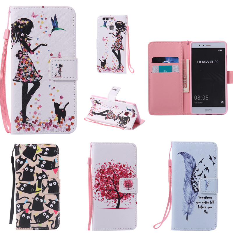 Cute Cartoon Lovely Cat Tree Girl Wallet Strap Leather Flip Fundas Funda para Huawei Ascend P8 P8 Lite P9 P9 Lite / Honor 5X Funda