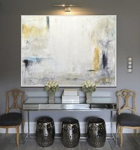 Large Oil Paintings Original Modern Abstract Art White Amber Yellow Blue Painting Contemporary Interior Design Wall