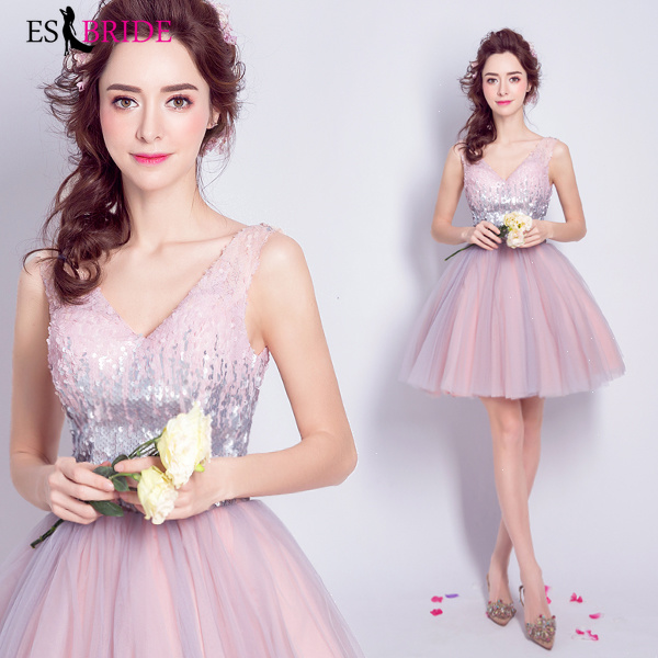 Pink Short Vestidos De Fiesta De Noche Sexy Party Backless   Evening     Dresses   Elegant V-neck   Evening     Dress   Robe De Soiree ES2079