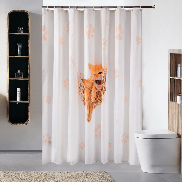 Fashion Funny Cat Patterns Thick Polyester Shower Curtain Bathroom  Waterproof Fabric Anime Bath Curtain with hooks. Aliexpress com   Buy Fashion Funny Cat Patterns Thick Polyester