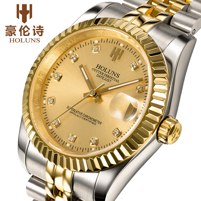 HOLUNS Luxury womens watch waterproof automatic mechanical watches stainless steel gold watchHOLUNS Luxury womens watch waterproof automatic mechanical watches stainless steel gold watch