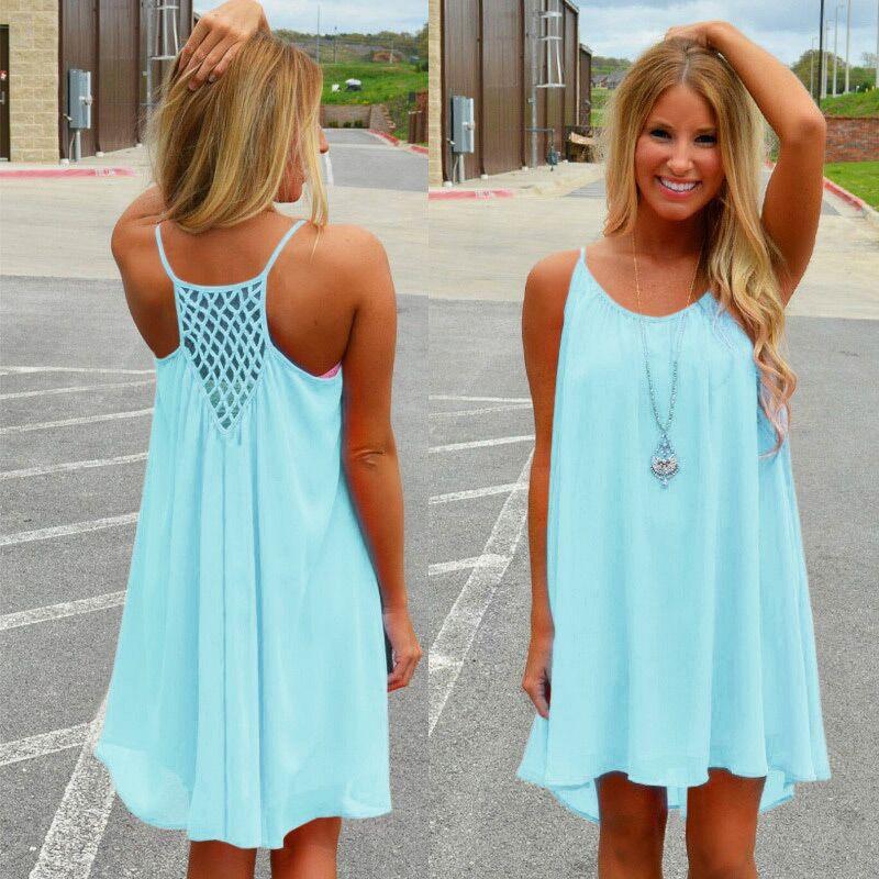 Summer Women Dress 2018 Fluorescence Female Ladies Chiffon Voile Summer Style Women Clothing Plus Size Sexy Beach Dress