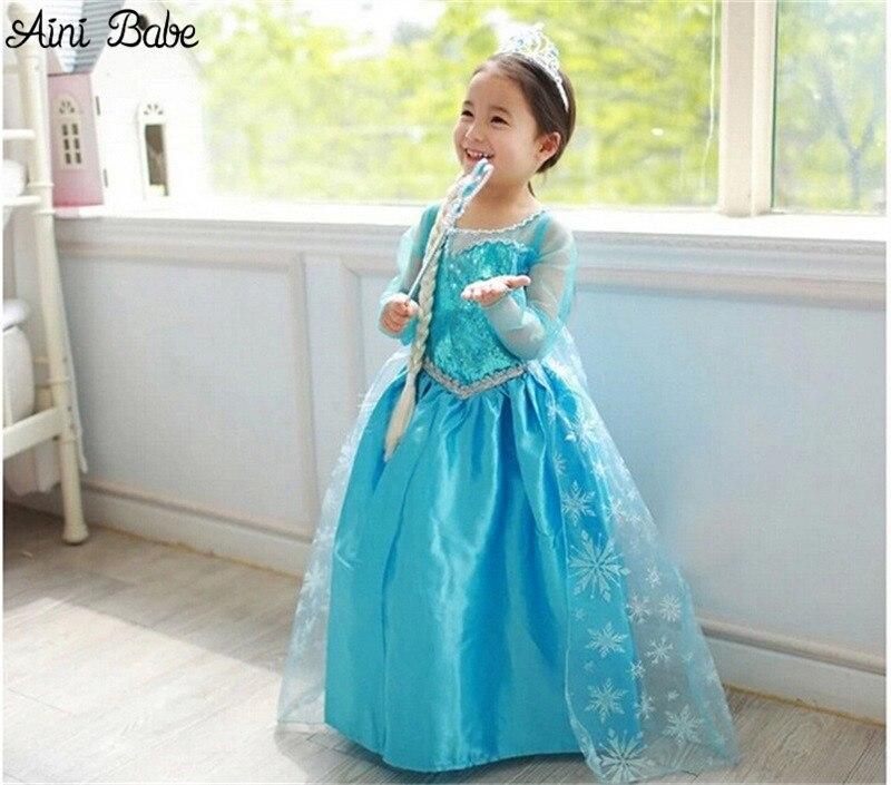 5984fdde96d Aini Babe Fancy Princess Blue Evening Dress For Girl Birthday Role-play  Children Costume Kids