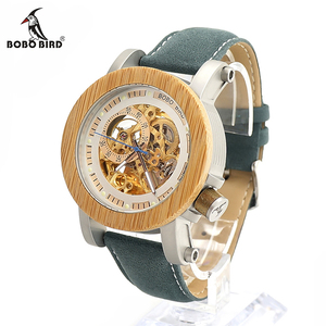 Image 4 - BOBO BIRD Mens Wooden Watch Mechanical Watch Mens Top Luxury Brand with Real Leather Strap in Gift Box relojes hombre