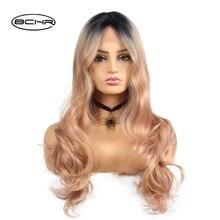 BCHR alta temperatura fibra pelucas delanteras del cordón largo negro oro Ombre Wave pelucas para mujeres