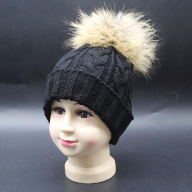 Pălăria de iarnă pentru bebeluși Blănie reală Pompom Copii - Accesorii pentru haine - Fotografie 4
