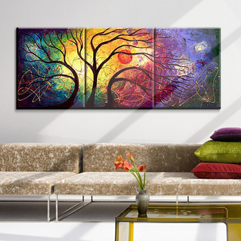 3 Panels Abstract Hand Painted Tree Oil Canvas Painting Picture Home Decor Wall Art For Living Room Cuadros Unframed XY080