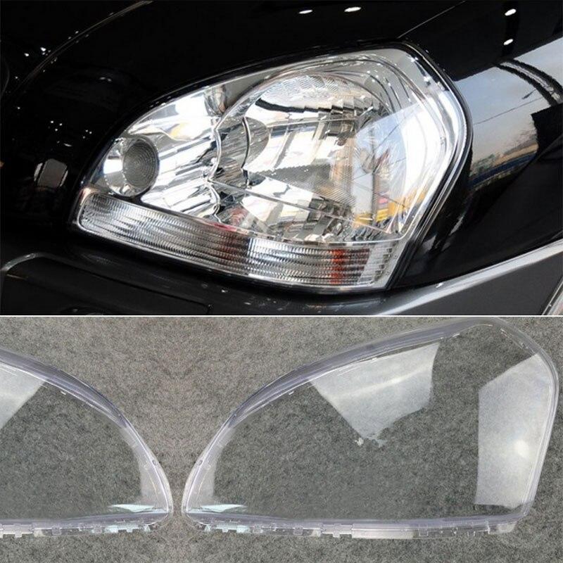1 زوج سيارة العلوي اليسار + الحق كشافات واضح غطاء للعدسات ل هيونداي توكسون 2005 2006 2007 2008 2009 عدسة المصباح الأمامي غطاء