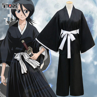 Anime Kuchiki Rukia Cosplay Shinigami Death Kimono Soul Reaper Full Set Halloween Costume BLEACH uniform costumes for adults