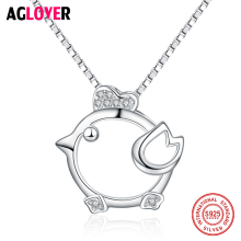 High Polished Shinny 100% 925 Sterling Silver Cute Animal Chick Pendant Women Chain Necklaces Jewelry