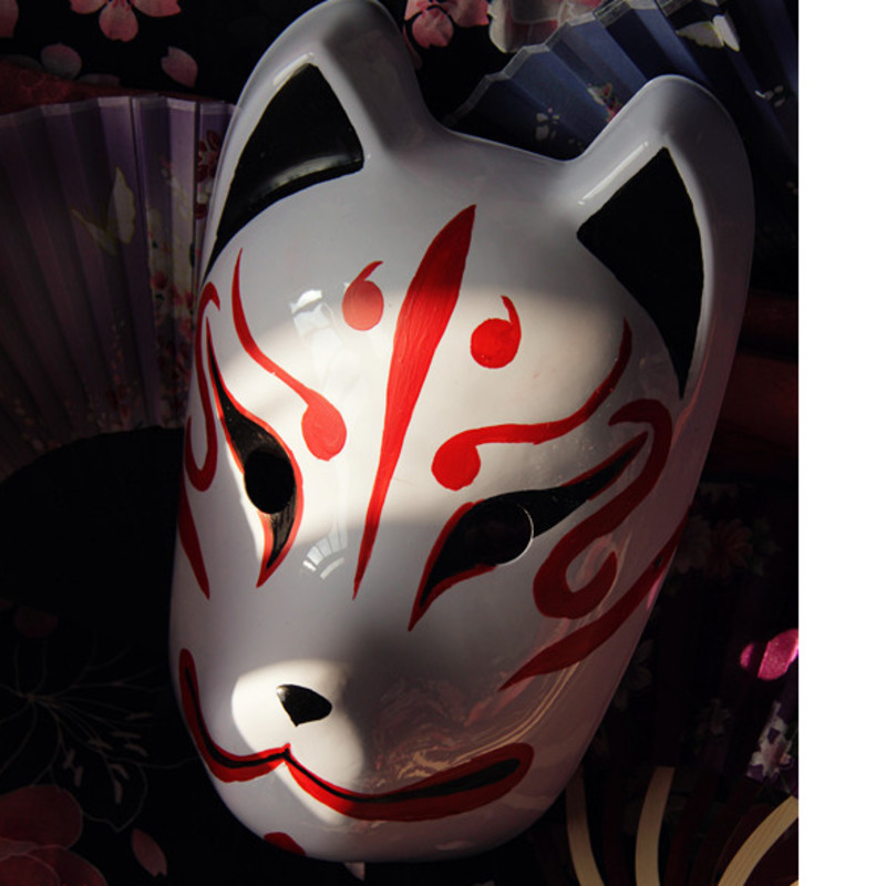 Hand painted Full Face Japanese Fox Mask Demon Kitsune Cosplay Pvc Masquerade Collection Japanese Noh Party Carnival Halloween in Boys Costume Accessories from Novelty Special Use