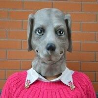 Lebensechte Tiere Grau Hund Kopf Masken Full Face Latex Maske Shar Pei Haube Für Halloween-Party