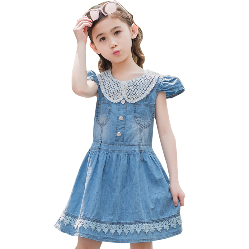 kids clothes girls denim dresses with lace baby to big girl dress little girls dresses summer 2018 Teenagers dress 3-12 years summer girl dress 2016 kids dresses for girls of 12 years sleeveless printed big size black dress teenagers girl dresses robe14