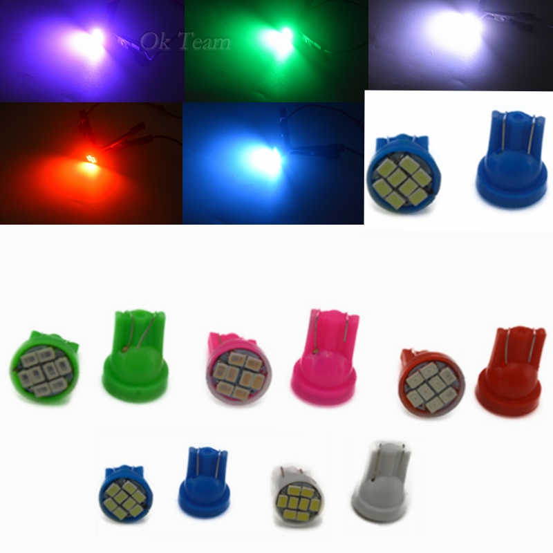 10pcs T10 Auto led car Indicator lighting wedge high bright Factory bulb 8LED SMD 3020/1206 168 192 W5W White/Pink/Blue/RedGreen image