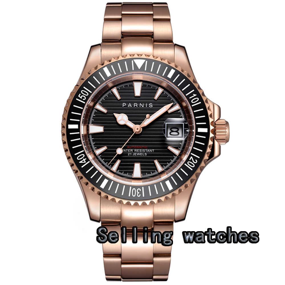 Nuovo arriva 41mm Parnis nero quadrante In Oro Rosa placcato Sapphire Ceramica data 21 gioielli miyota automatic mens watch