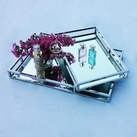 Metal mirrored tray modern stainless steel tray fruit dish storage traysquare rectangle dressing wedding glass tray