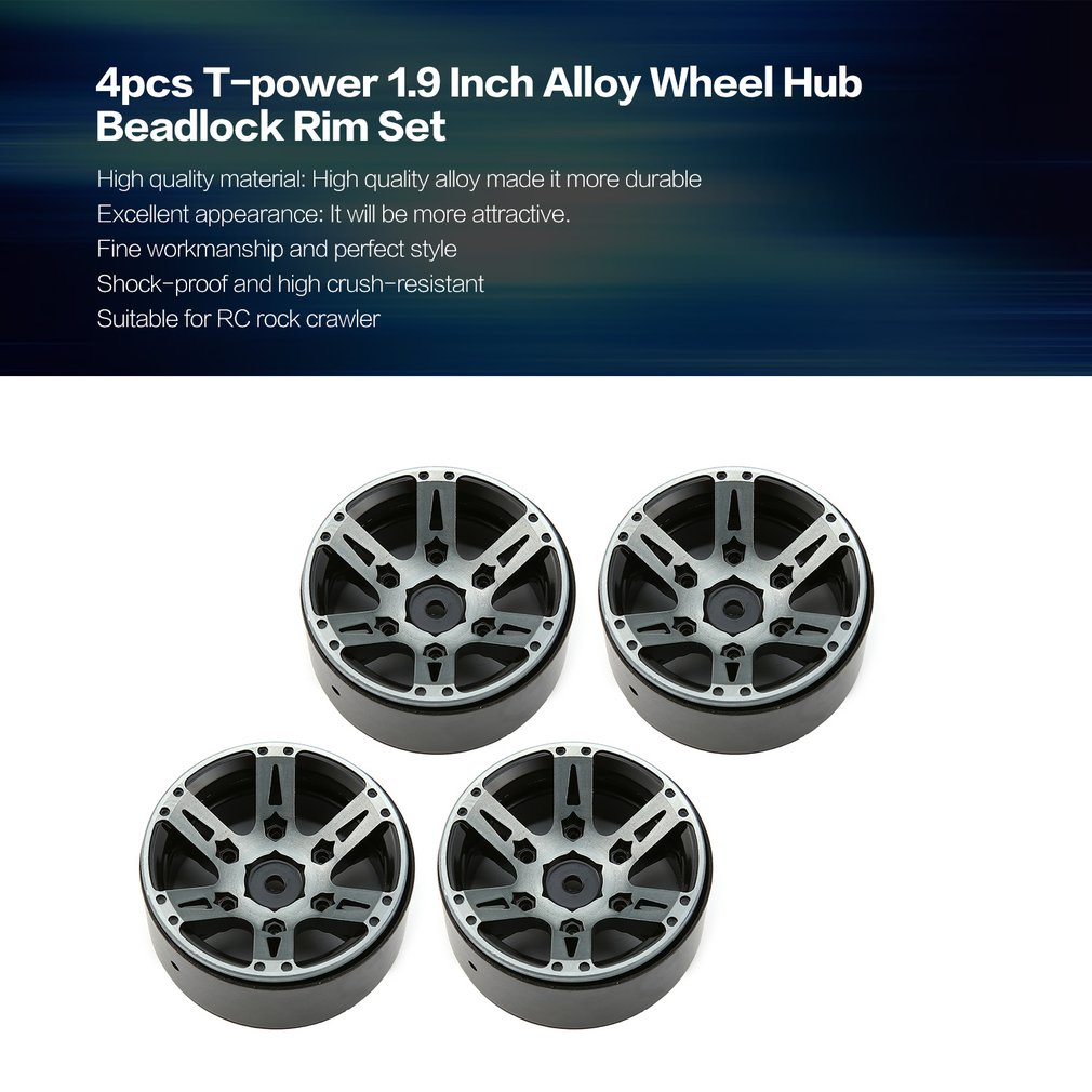 4pcs T power 1.9 Inch RC Tires Beadlock Alloy Wheels Hub Beadlock Rim Set for 1/10 RC Car RC Component Spare Parts Accessories-in Parts & Accessories from Toys & Hobbies