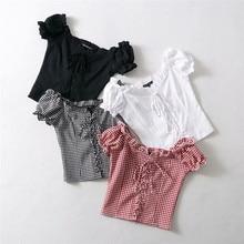 Women cotton grid Spliced Lace Hem shirt with V Neck Puff Sleeve shirt Summer Elegant slim Short Sleeve Blouse tops недорого