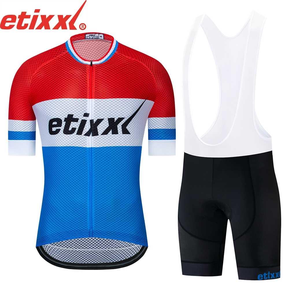 Фото 2019 команда etixxl триколор PRO Велоспорт Джерси нагрудники шорты костюм Ropa Ciclismo