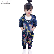 2017 fashion spring brand domeiland 2pcs Children cloth sets hooded girl Denim long sleeve print Graffiti jacket pant clothes