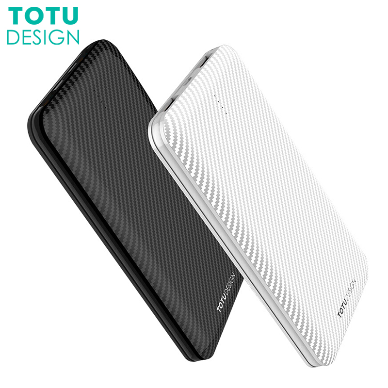 TOTU 10000mAh Power Bank Carbon Fiber Powerbank 2.1A Dual USB Output External Battery Charger For Mobile Phone Tablets Poverbank