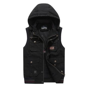 Fur Hood Sleeveless Vest Men Military Fleece Warm Jacket Waistcoat Travel Multi Pocket Tactical Thick Male Jacket 9XL