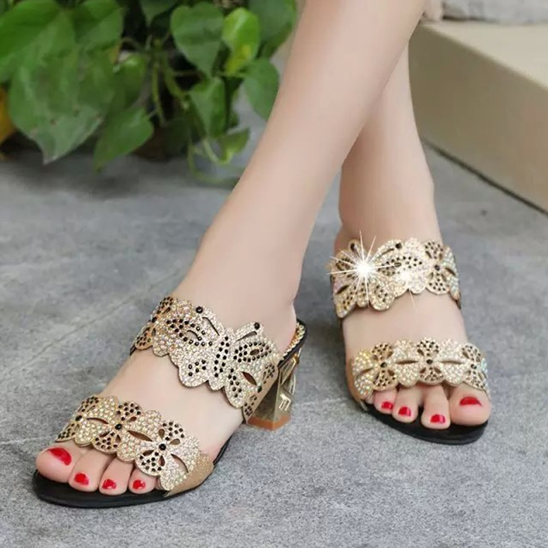 Shoes Women 2017 summer new diamond sandals female shoes Fashion mouth cool slippers with hollow high-heeled sandals Women BT527