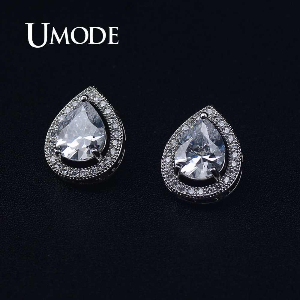 08ed013c3ef6e UMODE Water Drop Clear Cubic Zircon Stud Earrings Teardrop Earrings for  Women Girls White Gold Wedding Fashion Jewelry UE0475