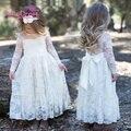 Cordón de la muchacha vestido largo con sweet flor para la edad 3-7 bebé niños Princesa Wedding Party Prom Blanco Crema de Gran Arco de Manga Larga vestido