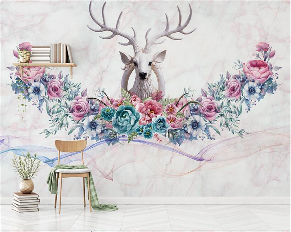 beibehang wall papers home decor Classic personality wallpaper Nordic hand painted flowers Stereo deer background papier peint in Wallpapers from Home Improvement