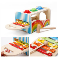 New 1 pc Pound and Tap Bench with Slide Out Wooden Handcrafted Pretend Toys