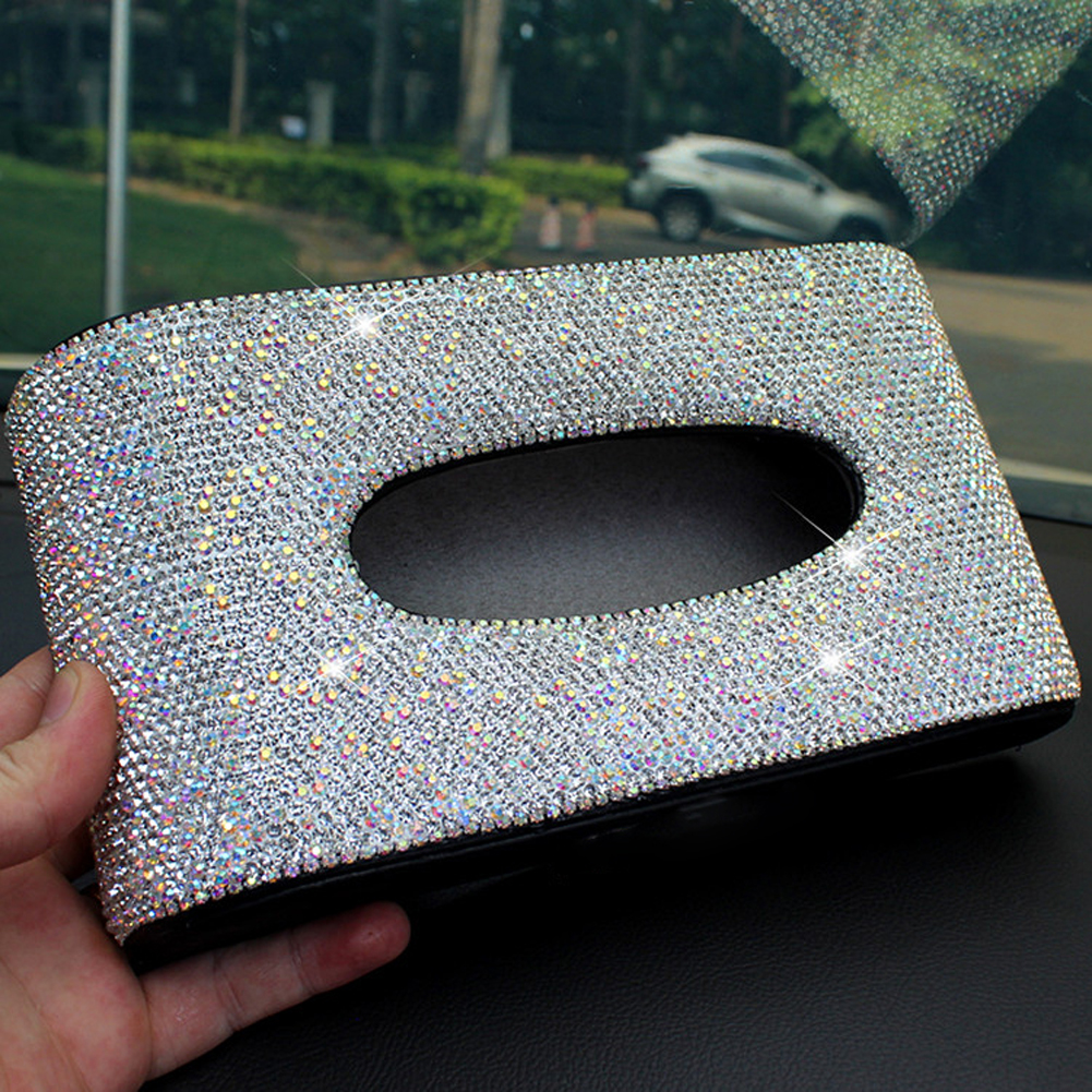 Sparkly Crystals Leather Car Tissue Box w/ Wild Leopard Luxury Fashion Towel Paper Cover Case for Car Home Office Use Red White