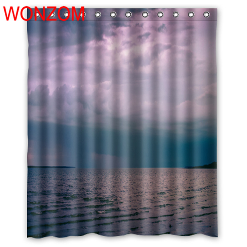 WONZOM Polyester Fabric 3D Landscape Shower Curtains with 12 Hooks For Bathroom Decor Modern Sunset Bath Waterproof Curtain