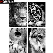 "HOMFUN Full Square/Round Drill 5D DIY Diamond Painting ""Tiger Lion Wolf Owl"" 3D Embroidery Cross Stitch 5D Home Decor Gift BK01(China)"