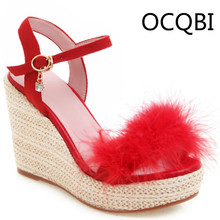 Womens Suede Elevated Wedge Sandals Summer Casual Shoes Open Toe Fur Deco Party Beige Black Brown Platform Red