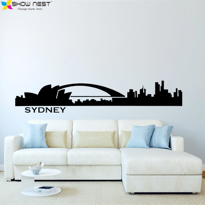 wall prints for living room australia modern decorating inspiration sydney skyline decal city silhouette vinyl stickers bedroom kitchen