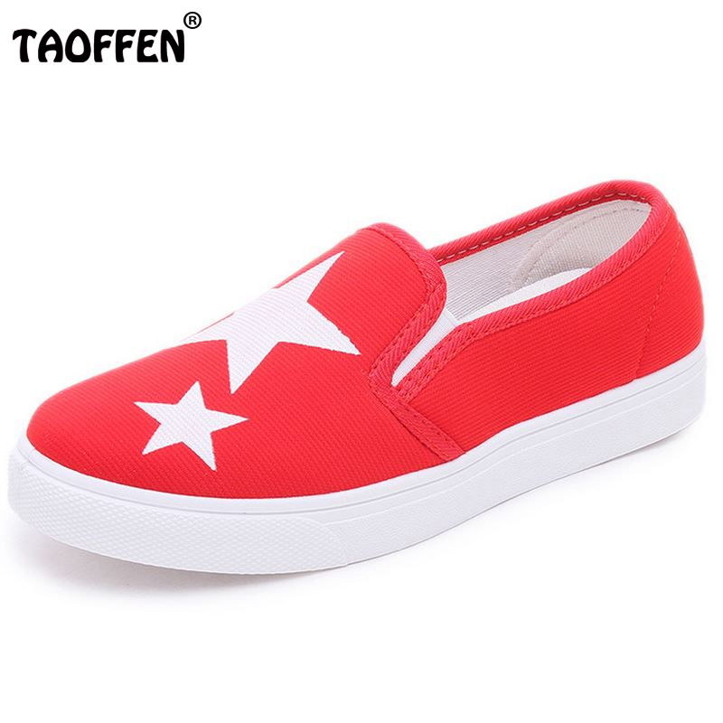 TAOFFEN Ladies canvas Shoes Fashion Tide Style Spring Summer Women Flat Shoes Slip on Breathable Women's Shoes Flats Size 35-40 spring summer women casual shoes fashion canvas mother driving shoes breathable flat with shoes apple patchwork canvas