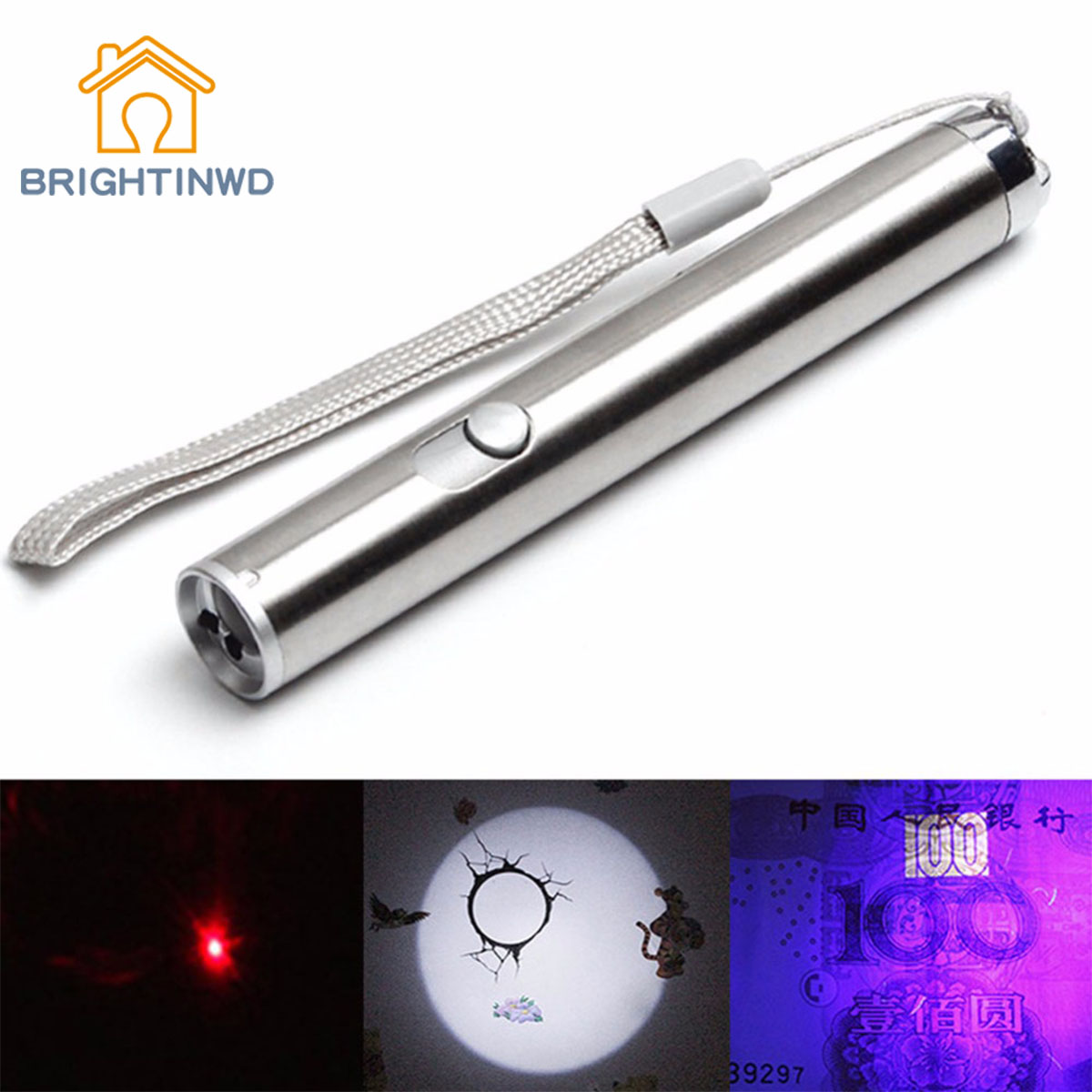 Portable Aluminium Alloy LED UV&Red Laser&Lighting Flashlight Waterproof Powerful LED Torch Multifunction Mini Flashligh