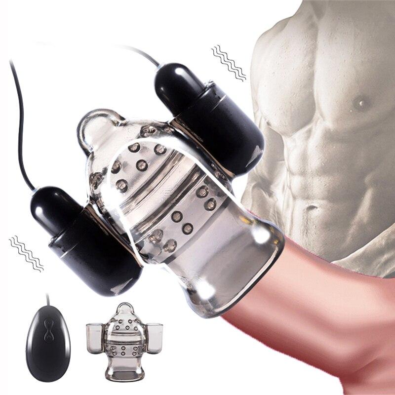 Penis Head Vibrator Glans Trainer Delay Ejaculation Adult Sex Toys For Men Male Masturbator Cock Massager Dual Bullet Vibrators