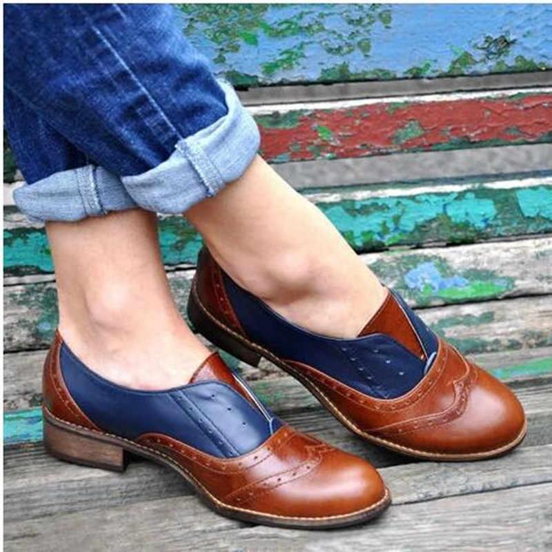 Femme à lacets sculpture Bullock bout pointu sans lacet Creepers Preppy cuir Derby chaussures femmes chaussures plates nouveau britannique Oxford chaussures