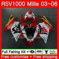 Body For Aprilia RSV1000R Mille RSV1000 R RR 03 04 05 06 Yellow white 82SH.1 RSV1000RR RSV 1000R 2003 2004 2005 2006 Fairing Kit