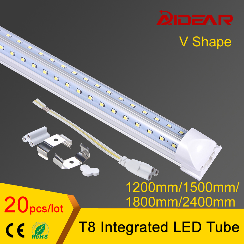 V shaped Integrated LED tube light T8 4ft 5ft 6ft 8ft 85-265V double side led tube t8 free shipping t8 led tube 1200mm light 18w120cm 4ft 1 2m g13 with holder fixture high power smd2835 fluorescent replacement 85 265v
