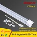 V shaped Integrated LED tube light T8 4ft 5ft 6ft 8ft 85-265V double side led tube t8 free shipping