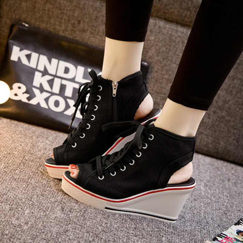 Altos Botas Primavera Cuña De Verano Zapatos Mujeres Tacones Mujer white Plataforma 2017 Lona Sandalias Chussure Casuales Black q1wPn