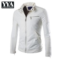 ed7b21063ae New White Pu Leather Jacket Men 2019 Winter Motorcycle Design Mens Slim  Biker Jacket Faux Leather